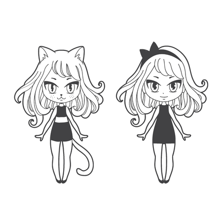 Cute vector illustration. Kawaii Anime girl cat. Big eyes. Use for postcards, print on clothes or decorations for animal shelter. Çizim