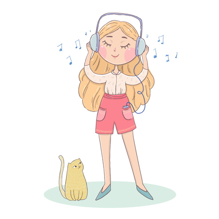 Cute girl listening to music with headphones with cat. Vector design Hand drawn  illustration.  イラスト・ベクター素材