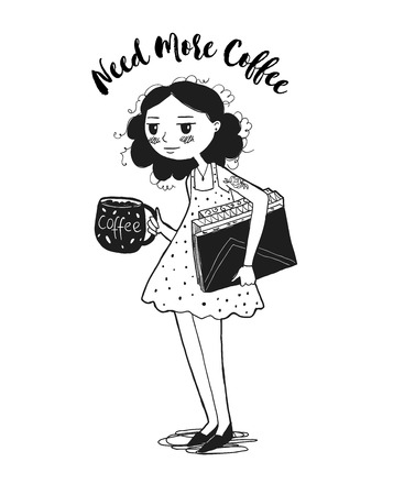 Sleepy Cute girl character with a cup of coffee. Holds the books. Hand drawn Vector illustration. Need more coffee inscription. Back to school concept