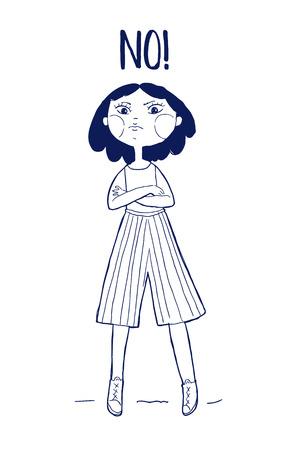 Cute girl character. Hand drawn Vector illustration. Say no inscription