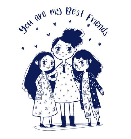 Simpatici personaggi di tre ragazze. Illustrazione vettoriale disegnato a mano. Migliori amiche, amate sorelle