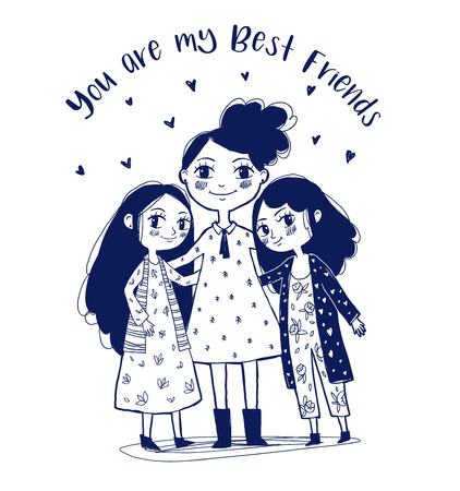 Cute three  girl characters. Hand drawn Vector illustration. Best friends, beloved sisters