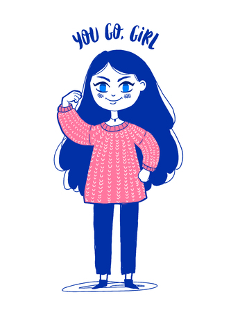 Vector color illustration greeting card. Happy hand drawn cute girl. Girl Power, Sisterhood. You Go girl lettering