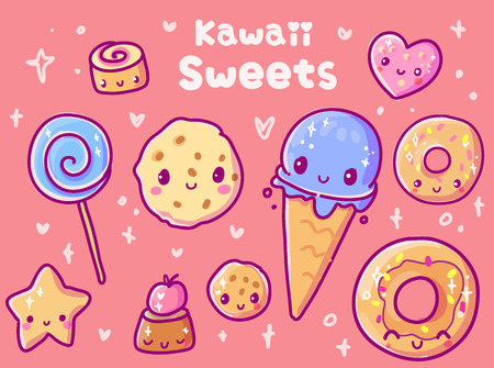 Cute vector illustration. Kawaii sweets. Use for postcards, print on clothes. Web sites, Candy or coffee shop