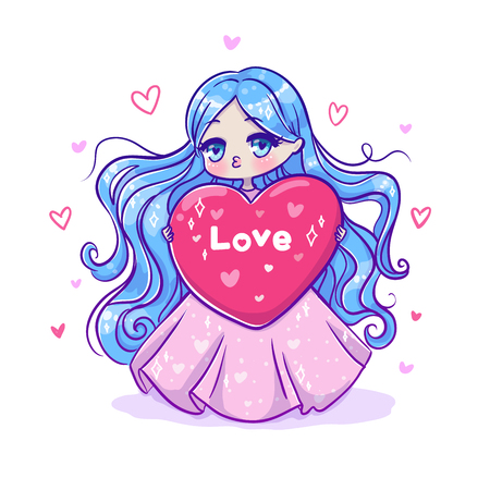 Cute vector illustration. Kawaii Anime girl. Big eyes. Use for postcards, print on clothes or other things. Happy valentine s day