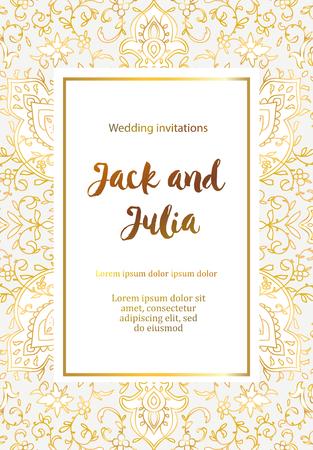 Hermosa tarjeta de felicitación de oro. Ilustración vectorial. Adorno árabe, indio. Invitación a una boda, cumpleaños, fiesta y otras festividades. Ilustración de vector