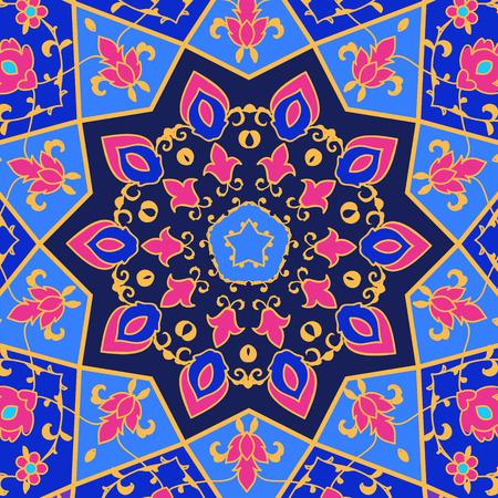 Hermosa tarjeta de felicitación de oro. Ilustración vectorial. Adorno árabe, indio. Invitación a una boda, cumpleaños, fiesta y otras festividades.