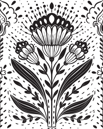 Vector illustration folk flowers poster, ornaments tribal pattern. Use for birthday cards, Happy Wedding day other decorations.