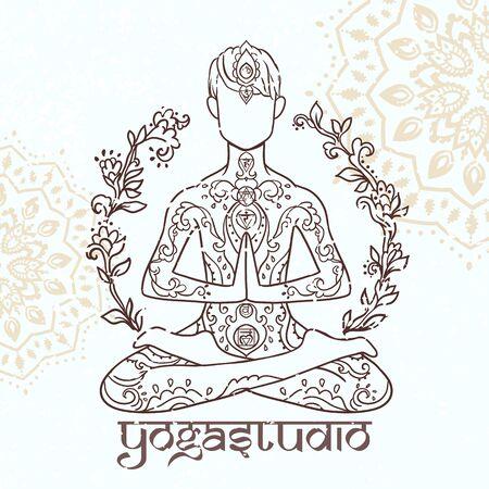 Ornamental man in a yoga pose Ornament beautiful card with yoga man 矢量图像