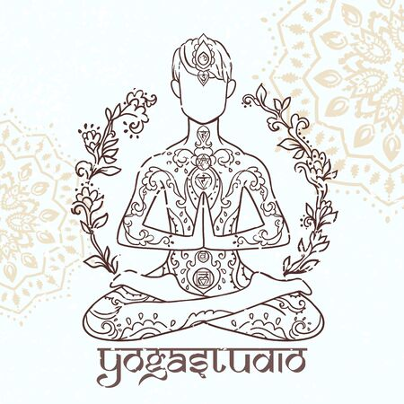 Ornamental man in a yoga pose Ornament beautiful card with yoga man Illustration