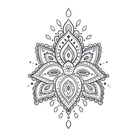 Beautiful ornate pattern. Lotus flower. Meditation. Vector illustration in ethnic, boho styles. For decorate the studio, invitation card, logo, things Mat, lengsy, bottle T-shirt