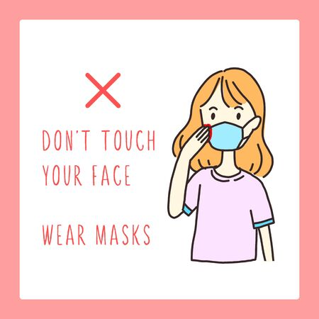 Hand drawn style woman vector illustrations. Don t touch your face. Coronavirus prevention. Girl in medical face mask. Concept of 2019-nCoV quarantine. Don t touch your face. Use for website, card and other design.