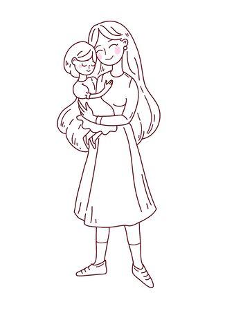 Doodle kawaii style. Cute woman vector illustrations. Happy Mother s Day. Illusztráció