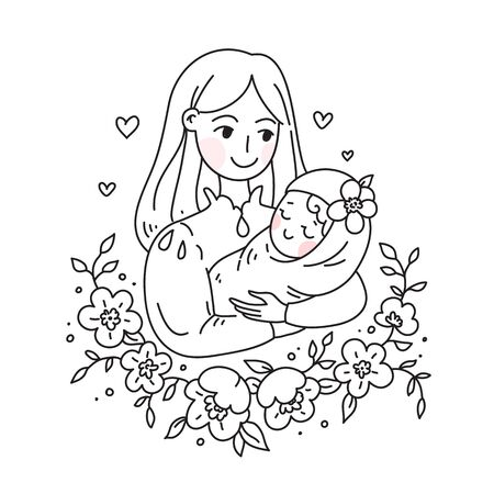 Doodle kawaii style. Cute woman vector illustrations. Happy Mother s Day.
