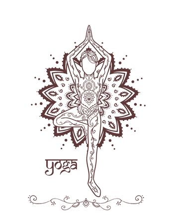 Ornament beautiful man in a yoga pose. Lotus meditation.