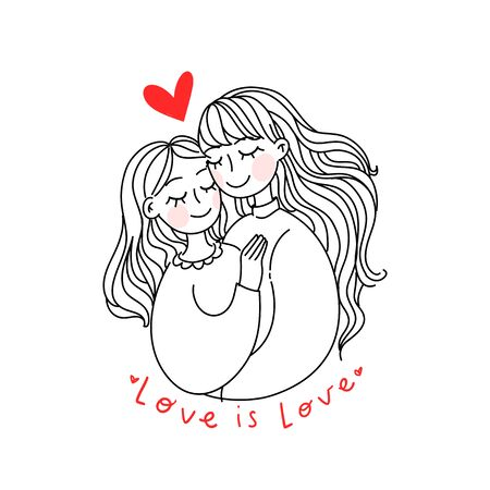 Lesbian family concept. Vector illustration. Doodle simple style