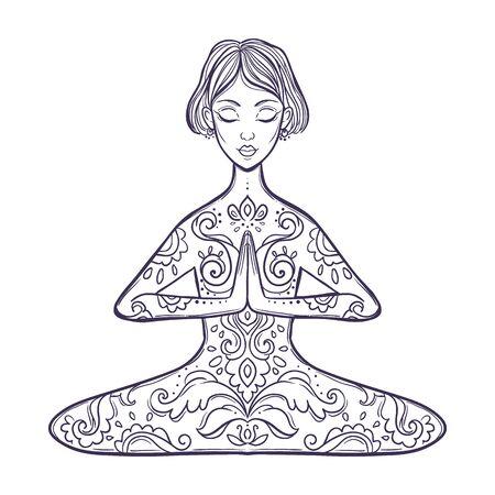 Girl in a yoga pose. Meditation. Vector illustration in ethnic, boho styles. Vettoriali