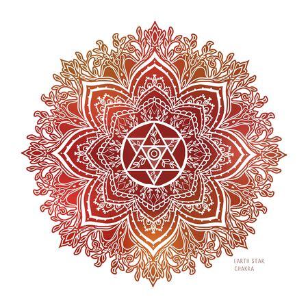 Chakra symbol coloring vector illustration. For   yoga healing