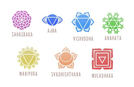 7 chakras symbol coloring vector illustration. For logo yoga healing Illustration