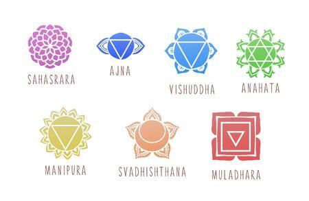 7 chakras symbol coloring vector illustration. For logo yoga healing Illustration