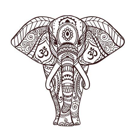 Boho Black elephant. Vector illustration. Floral design