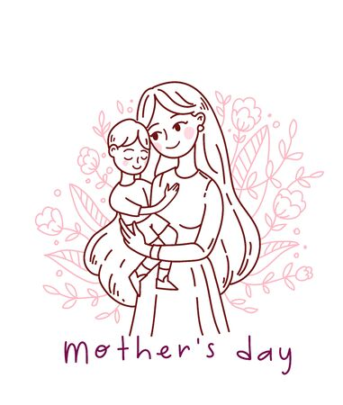 Doodle kawaii style. Cute woman vector illustrations. Happy Mother s Day
