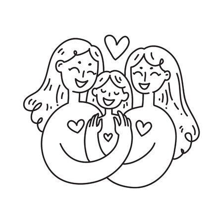 Lesbian family concept. LGBT woman Couple. Vector illustration.