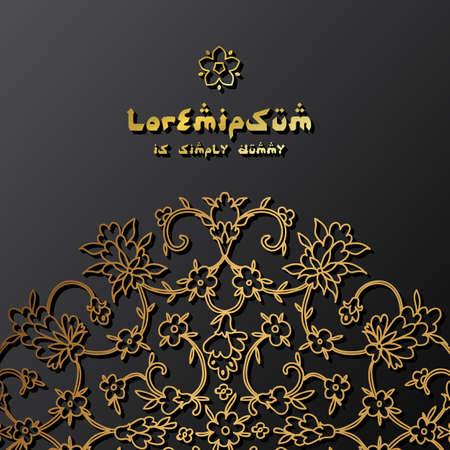 Gold greeting Beautifu card. Vector illustration. Arab, Indian ornament
