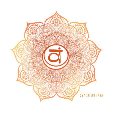 Chakras coloring vector illustration. Chakra symbol. Red Color. For logo yoga healing, meditation, kundalini.