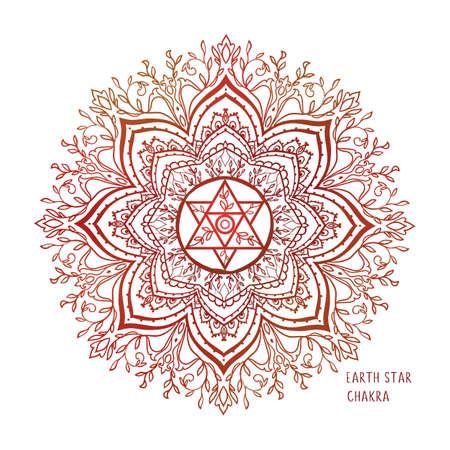 Chakras coloring vector illustration. Chakra symbol. Red Color. For logo yoga healing, meditation, kundalini. Logo
