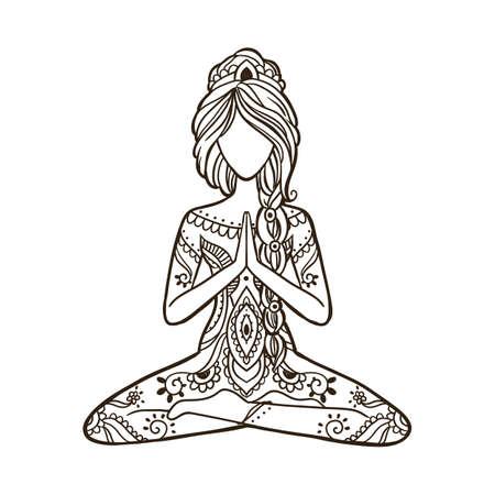 Yoga Girl. Stay home and do yoga concept.Ornamental Vector illustration.