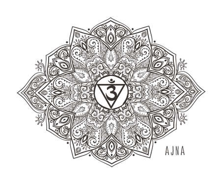 Chakra vector illustration. Beautiful symbol. Black and white Color.