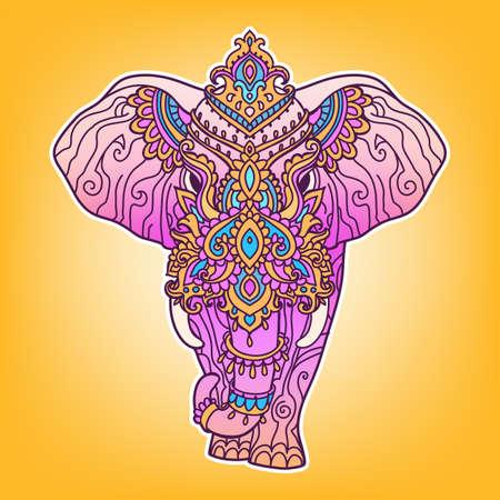 Boho elephant pattern. Vector illustration. Floral design, hand drawn map with Elephant ornamental