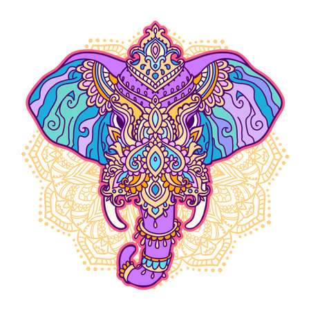 Boho elephant pattern. Vector illustration. Floral design, hand drawn map with Elephant ornamental Vector Illustratie