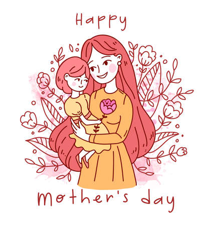 Doodle kawaii style. Cute woman vector illustrations. Happy Mother s Day. Mother and daughter. Illusztráció
