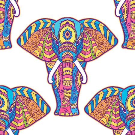Boho elephant pattern. Vector illustration. Floral design, hand drawn map with Elephant ornamental Vektorgrafik