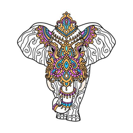 Boho elephant pattern. Vector illustration. Floral design, hand drawn map with Elephant ornamental Vector Illustration