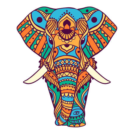 Elephant. Geometric circle element made in vector. Tribal, India, hippie, Bohemian styles. Ilustración de vector