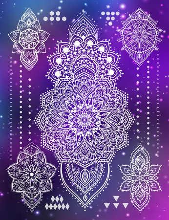 Mandala set and other elements. Vector illustration. Mandala tattoo.