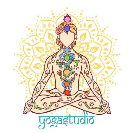 Yoga man. Ornament beautiful Concept of meditation. Geometric element hand drawn. Vector illustration