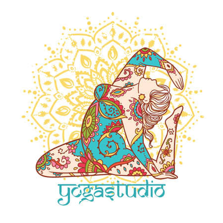 Yoga girl. Ornament Meditation pose. Concept of body positive. Vector illustration plus size Vecteurs