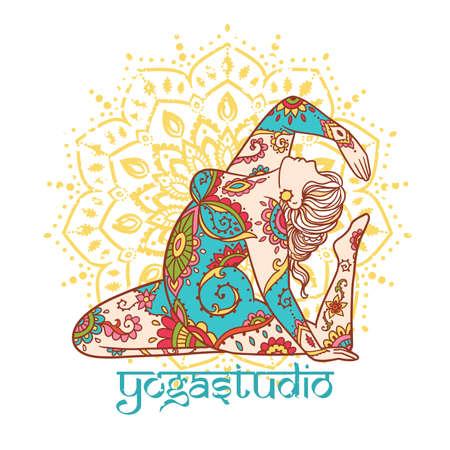 Yoga girl. Ornament Meditation pose. Concept of body positive. Vector illustration plus size Vektorové ilustrace