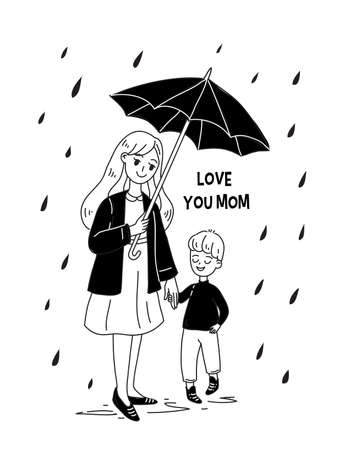 Doodle kawaii style. Cute woman vector illustrations. Happy Mother s Day. Mother and son