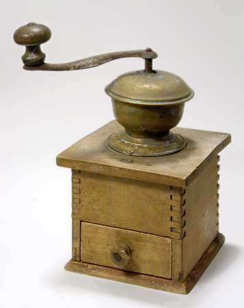 old wooden coffee machine