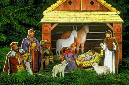 bethlehem crib: christmas still life with a picture of the Nativity