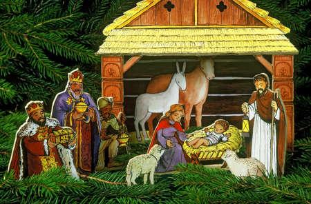 creche: Navidad sigue la vida con una imagen de la Natividad  Foto de archivo