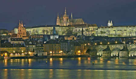 Night view to Prague castle  photo
