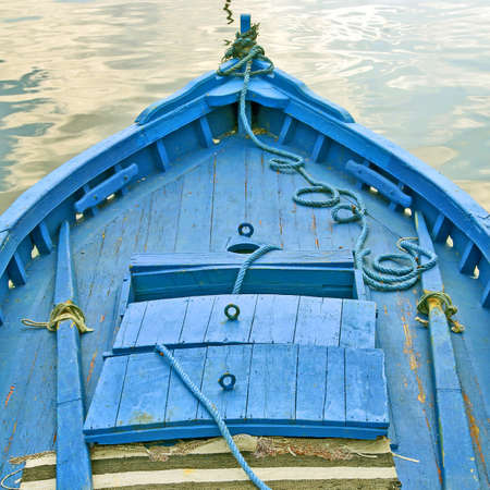 skiff: bow of a blue boat Stock Photo