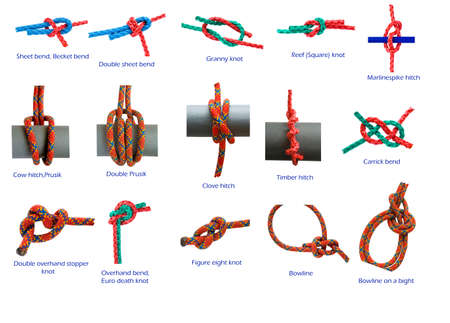 lashing: different knots isolated in white