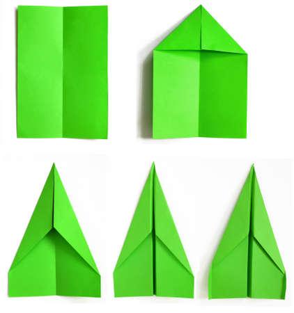assembly procedure of paper plane Standard-Bild